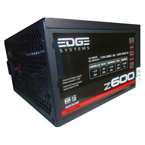 Fuente de poder edge z600 atx 600watts 20/24pines